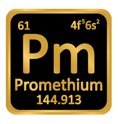 periodic table element promethium icon vector image