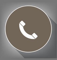 phone sign white icon on vector image