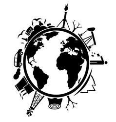 Pollution and environmental destruction vector