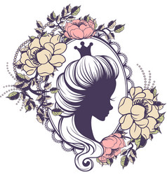 princess portrait in floral frame vector image
