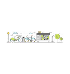 Public bike sharing area with bicycles available vector