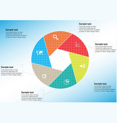 round infographic template with hexagonal vector image