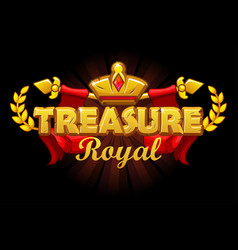 royal treasures banner with golden crown and logo vector image