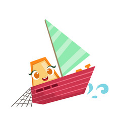 sailing fisherman fishing boat cute girly toy vector image