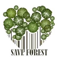 Save forest ecology green postcard vector