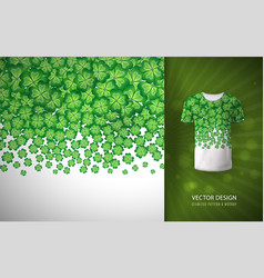 Seamless clovers border as a pattern on a t-shirt vector