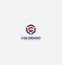 secure mountain logo badge colorado mountain logo vector image
