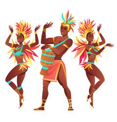 Set brazilian samba dancers rio de janeiro vector
