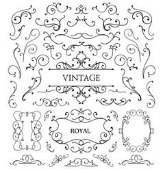 Set vintage swirls frames vector
