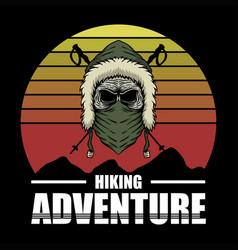skull hiking adventure vector image