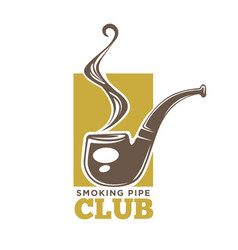 smoking pipe club colorful logotype isolated on vector image