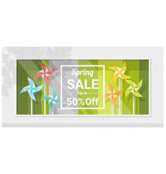 Spring sale window display vector