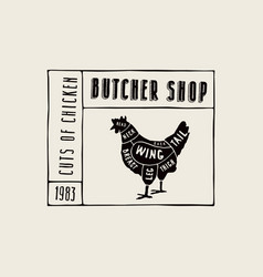 stock chicken cuts diagram vector image