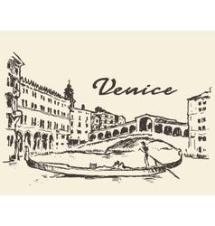 Streets Venice Italy gondola drawn vector
