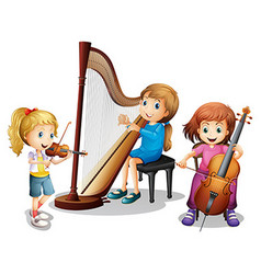 Three girls playing music vector