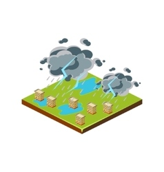 Thunderstorm Natural Disaster Icon vector