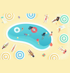 top view people relaxing near summer pool vector image