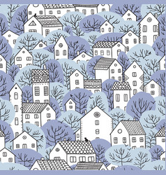 Trees and houses seamless pattern winter light vector