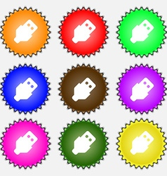USB icon sign A set of nine different colored vector image