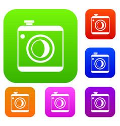 vintage photo camera set collection vector image