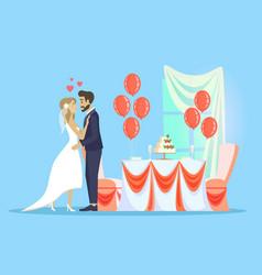 wedding celebration man woman couple in love vector image