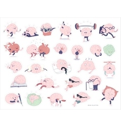Brain stickers set vector image vector image