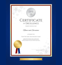 certificate of excellence template in portrait vector image