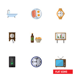 flat icon life set of cellphone whiteboard timer vector image