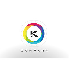 k letter logo with rainbow circle design vector image