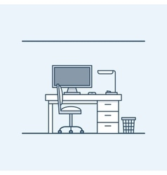 Modern interior design workplace in the home or vector image
