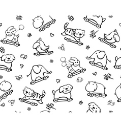 seamless cute pattern of fun animals vector image