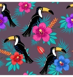 Tropical flowers and toucan pattern vector image