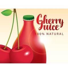 cherry and bottle juice vector image vector image