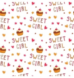 Cute seamless pattern with cupcakes vector image vector image