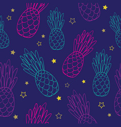 doodle dark blue pink pineapples summer vector image vector image