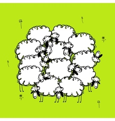 Funny sheeps on meadow sketch for your design vector image vector image