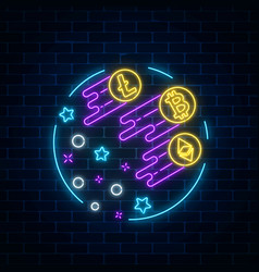 Neon sign of three crypto-currencies are growing vector