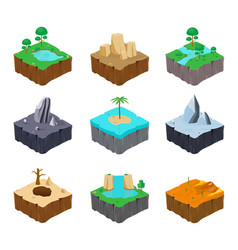 set of isometric game islands cute lake river vector image