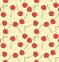 Watercolor cherry in vintage style vector image
