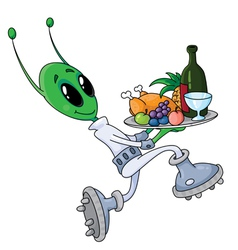 alien with tray vector image