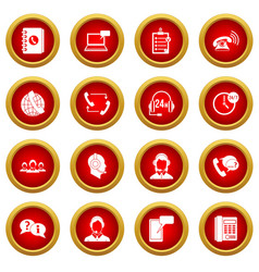 call center symbols icon red circle set vector image vector image