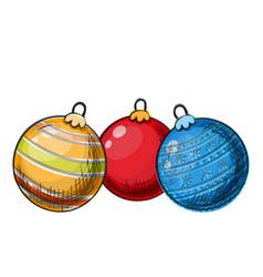 colorful sketch of christmas balls vector image