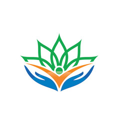 human hand flower logo image vector image vector image