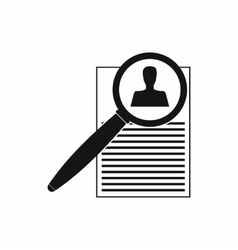 Magnifying glass and resume icon simple style vector image vector image