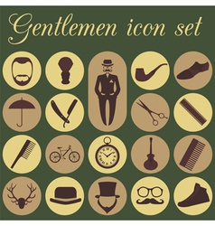 Set of vintage barber hairstyle and gentlemen icon vector image