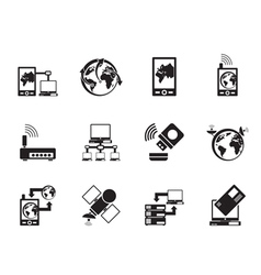 Silhouette communication and mobile phone icons vector image