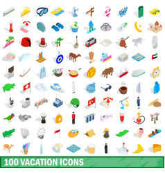 100 vacation icons set isometric 3d style vector image
