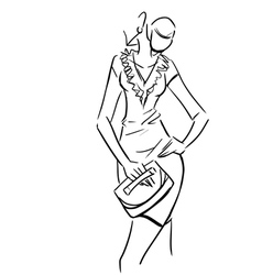 Beautiful sexy lady in short dress with clutch vector image