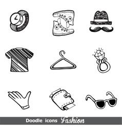 Fashion doodle icon set vector image vector image