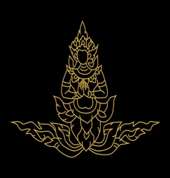 Gold angel Thai art vector image